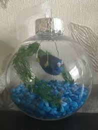 fish bowl ornament goldfish with blue by winterberryoriginals