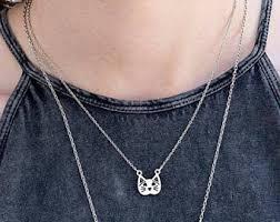 gold cat pendant necklace images Cat pendant necklace etsy jpg