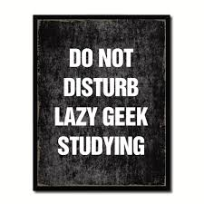 do not disturb lazy geek studying funny sign quote saying