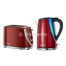 Toaster And Kettle Set Red Brennands Russell Hobbs Mode Red Gloss Kettle And 2 Slice