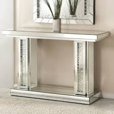glass mirrored console table mirrored console tables you ll love wayfair