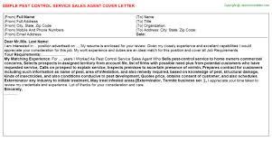 pest control service sales agent cover letter