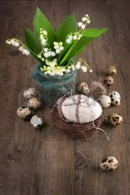 happy easter decorations easter decorations with blue hyacinth flowers and quail eggs stock
