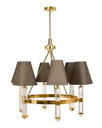 Bronze Chandelier With Shades 6 Light Gray Shades Brass Chandelier
