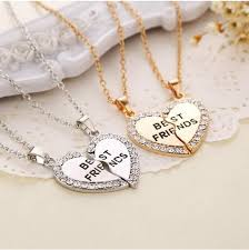 friend heart necklace images Best friend slice heart necklace namaste moms jpg
