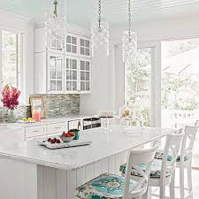 Coastal Living Kitchen - have fun with pattern painted ceilings kitchen white and