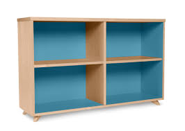 unstained solid wood low profile bookcase with blue deep inner of