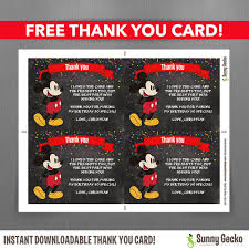 mickey mouse thank you cards disney chalkboard style mickey mouse 7x5 in birthday party