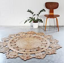 Hemp Area Rug Woven Doily Crochet Hemp Rug Crafted By Individual