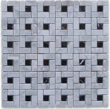 12 x12 carrara white target pinwheel windmill spiral mosaic black