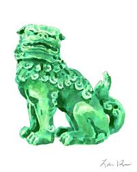foo dog bookends foo dog fu guardian lion jade green carved asian antique