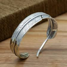 mens silver bangle bracelet images Men 39 s sterling silver two tone feather cuff bracelet jpg