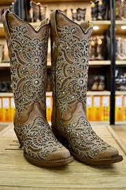 light colored cowgirl boots corral ladies light brown w green glitter inlay snip toe cowgirl