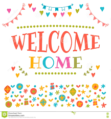 welcome home text with colorful design elements decorative lett
