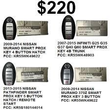 nissan pathfinder key start 4 pack nissan infiniti special price 220