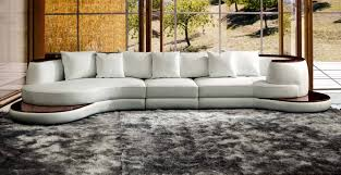 Contemporary White Leather Sectional Sofa by Divani Casa Rodus Rounded Corner Leather Sectional Sofa With