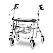 4 caster rollator with seat with basket height adjustable