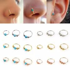nose piercing rings images 3pcs beads nose ring nostril hoop body piercing jewelry jpg
