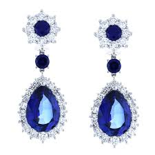 ladies earrings 14k white gold hand 35 ct w blue stone with 5 00