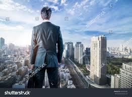 Modern City Businessman Looking Down Modern City Business Stock Photo