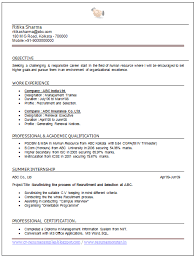 Hr Resume Template Personal Statement Format Mla Simple Cv Format For Freshers