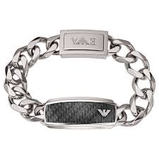 armani bracelet silver images Emporio armani men 39 s stainless steel chunky chain bracelet black