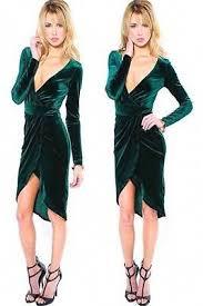 emerald green plunging v neck hi low hem velvet long sleeve