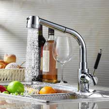 copper kitchen faucet pull out and cold rotating mixer tap