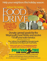 sullivan tire food drive fuel for thought