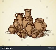 empty painted clay mugs water oil stock vector 474035737
