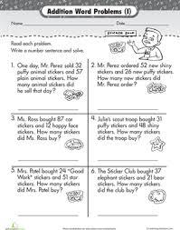 wordy word problems addition 1 worksheet education com