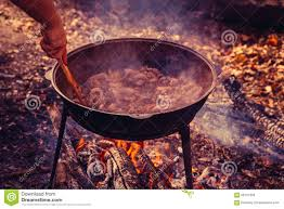 Cast Iron Cooking Cast Iron Pot Outdoors Cooking On A Fire Stock Photo Image
