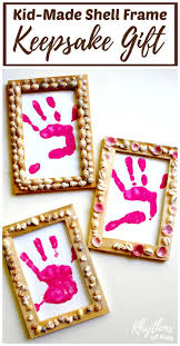 shell frames with handprint keepsake gift crafts mothers and other