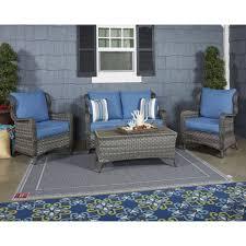 Patio Loveseat Glider Abbots Court 4pc Loveseat Glider W Table Lounge Chair W Cushion