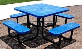 Park Bench And Table Metal Benches And Metal Picnic Tables Now Used As Exercise Equipment