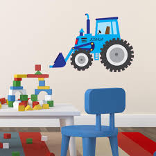 kids wall stickers for unique bedrooms free p p tagged personalised name blue tractor digger wall sticker v c designs ltd