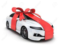 car ribbon car and ribbon gift on white background done in 3d rendering