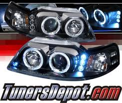 mustang projector headlights spec d halo led projector headlights black 99 04 ford mustang