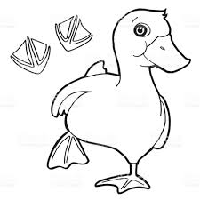 duck with paw print coloring page vector stock vector art