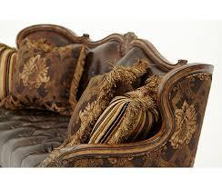 wood trim sofa buy lavelle melange leather fabric wood trim tufted sofa grp2
