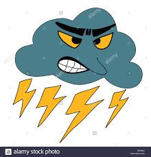 illustration thunder cloudy weather storm rain cartoon stock