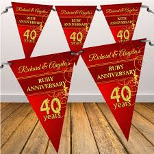 what is 40th wedding anniversary personalised ruby 40th wedding anniversary flag banner n9