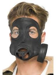 Gas Mask Halloween Costume Gas Mask Costume Prop Fake Respirator Black Latex Mens Army