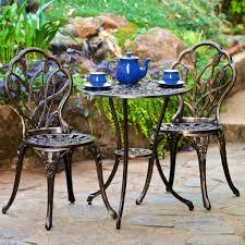 Black Metal Bistro Chairs Voguish Wrought Iron Style Settee Metal Patio Furniture 38 To