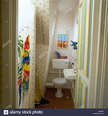 open door to attic bathroom with toilet and colourful plastic
