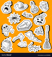 halloween doodle stickers royalty free vector image