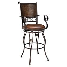 Leather Bar Stools With Back Furniture Wrought Iron Stool With Carved Back And Arms Plus Brown