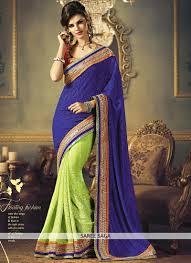 navy blue and pista green half n half saree