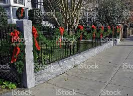 Christmas Fence Decorations Wrought Iron Fence Decorated For Christmas Stock Photo 144965350