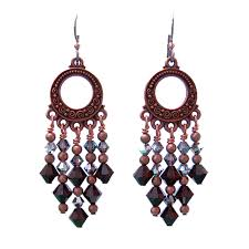 Garnet Chandelier Earrings Garnet Chandelier Earrings 65mm Length Copper And